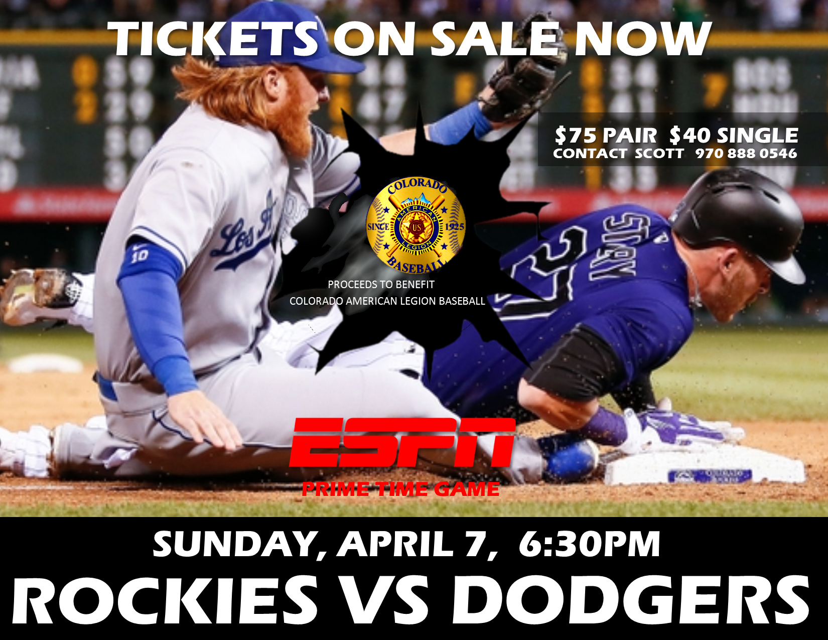 CR vs LAD Opening Weekend Game Tickets #6 Flyer - April 7th
