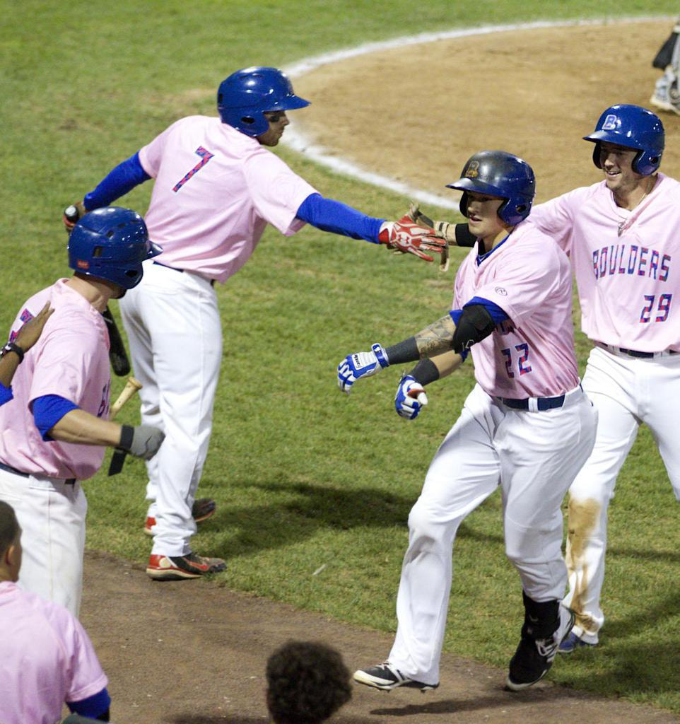 Boulders Pink Jerseys are auctioned off after the game in order to support the Center for Breast Health at Good Samaritan Hospital.