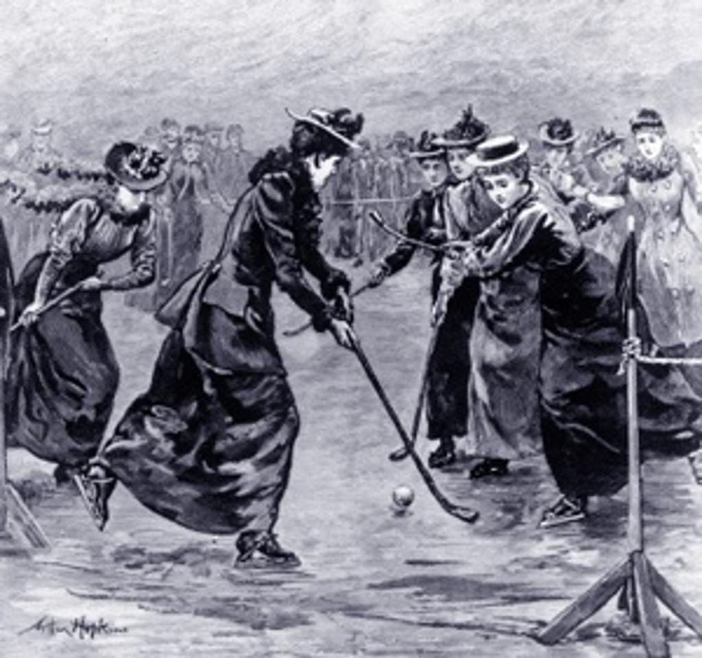 Historic image of women playing field hockey