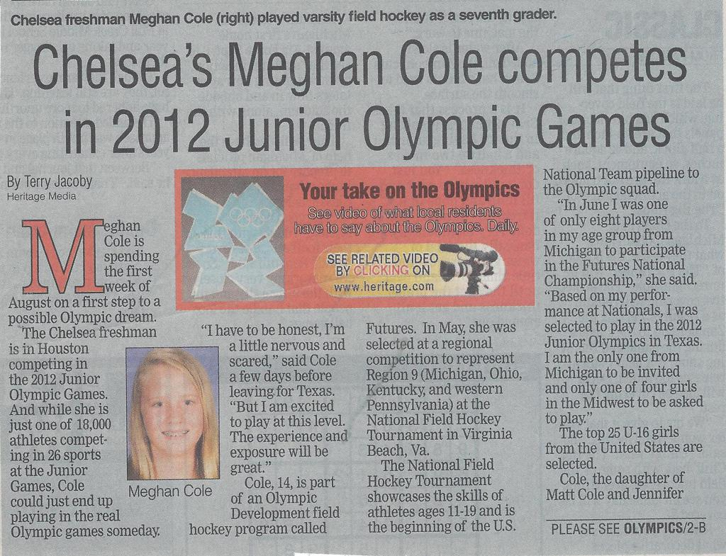 Meghan Cole - Jr. Olympics article