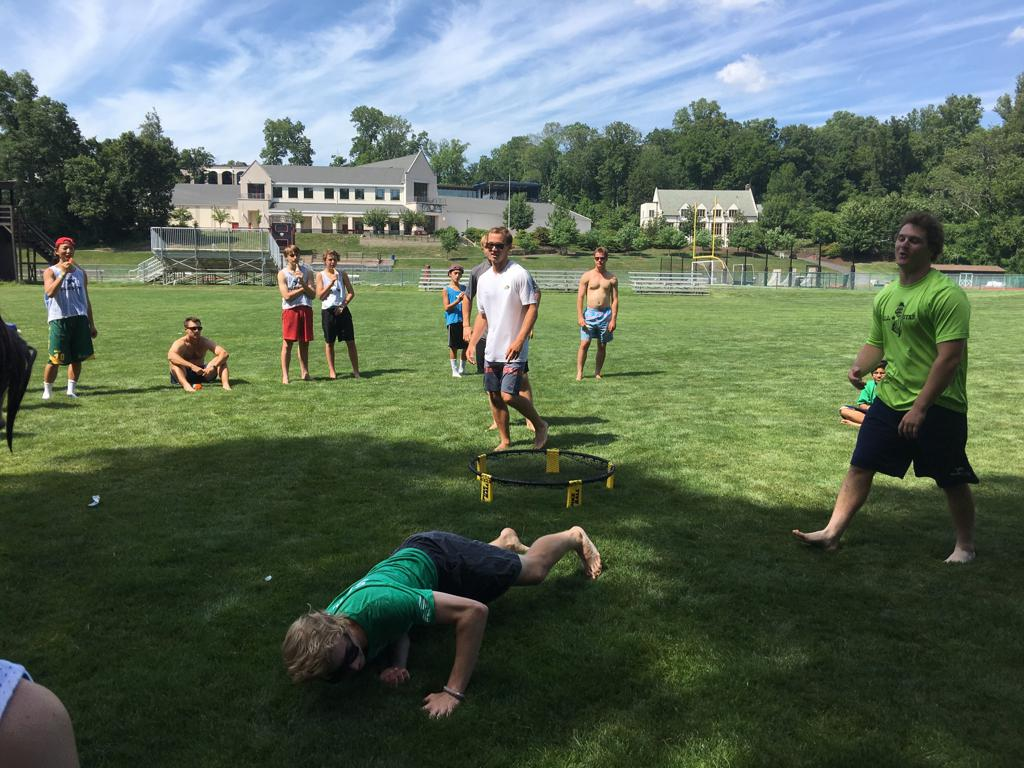 during downtime, Spikeball was a big deal!