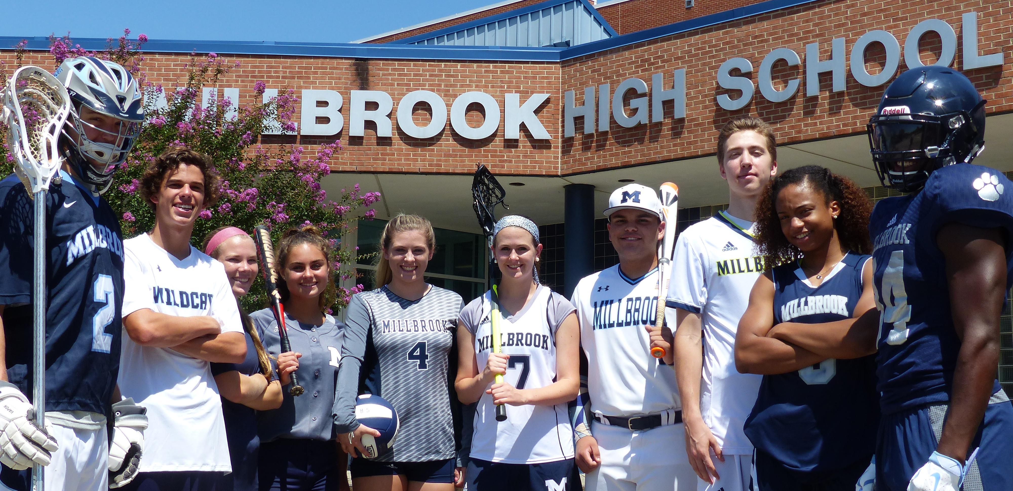 Millbrook athletes from all sports pose for a photo