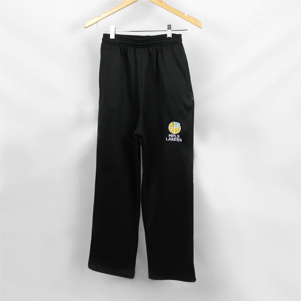 Black sweatpants with embroidered logo and type