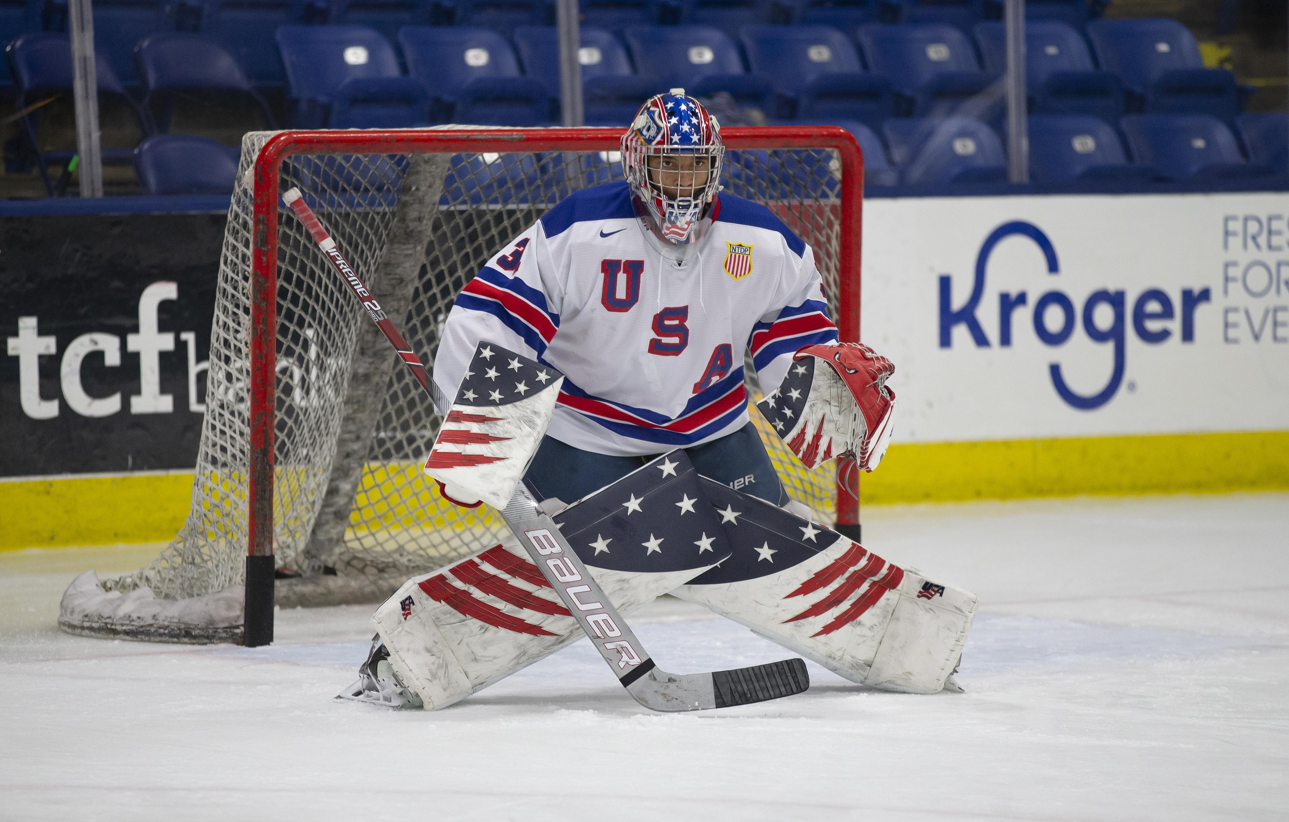 After two seasons in net for USA Hockey's National Team Development Program, Kaidan Mbereko has committed to play collegiately at Colorado College. Photo by Rena Laverty, USA Hockey NTDP