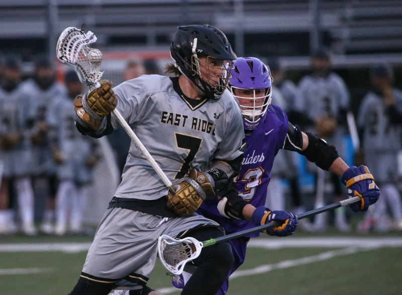 East Ridge's Jack Mohler (No. 7) was chosen one of seven finalists for the 2019 Mr. Lacrosse Award on June 7. The award is presented annually by the Minnesota Minute Men to the state's most outstanding senior player. Photo by Cheryl Myers, SportsEngine