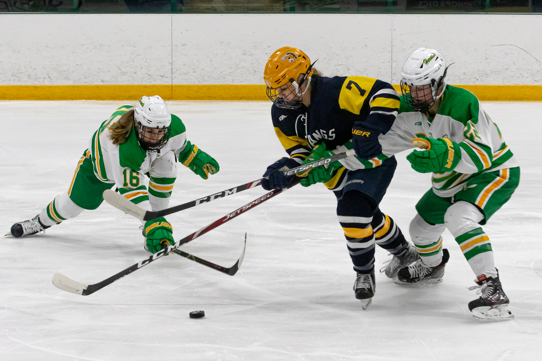 Breck freshman forward Ava Lindsay scored the Mustangs' lone goal to cut Edina's lead to 3-1 in the third period. Photo by Gary Mukai, SportsEngine