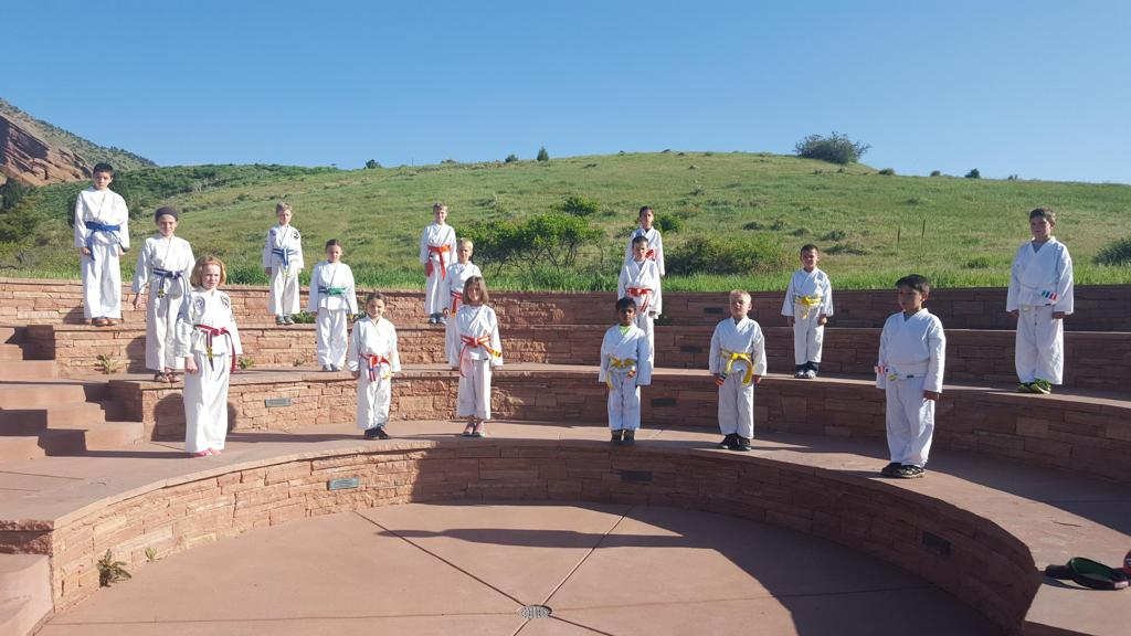 Before school martial arts program at Red Rocks Elementary in Morrison CO