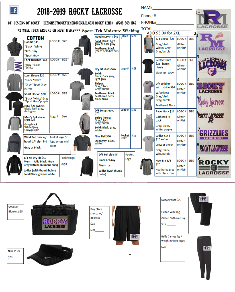 Designs By Becky rocky lacrosse store items for sale call 208-869-1762 to order
