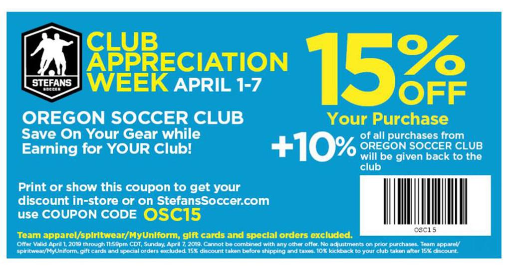 Stefans Soccer coupon for April 1-7, 2019
