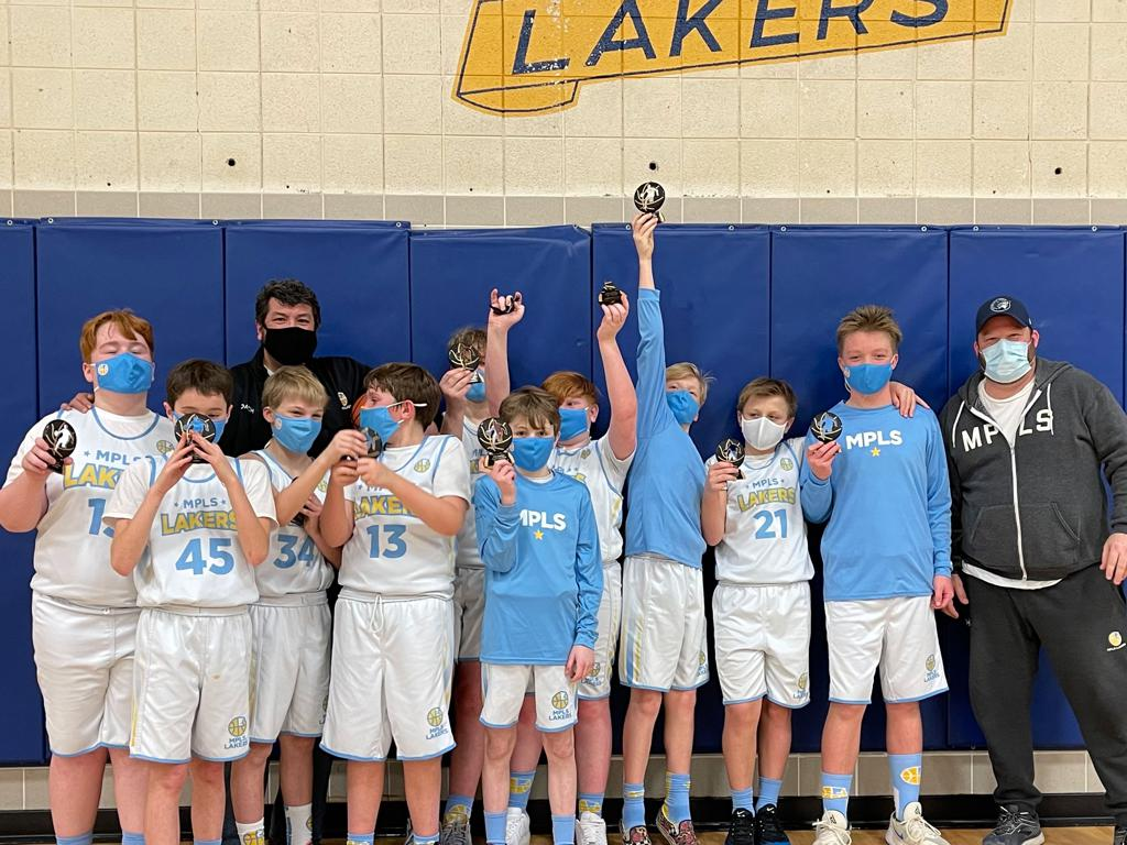 Mpls Lakers Youth Traveling Basketball Program Inc Boys 6th Grade White pose after taking Third Place at the Prior Lake PLAY It Up Classic tournament in Prior Lake, MN