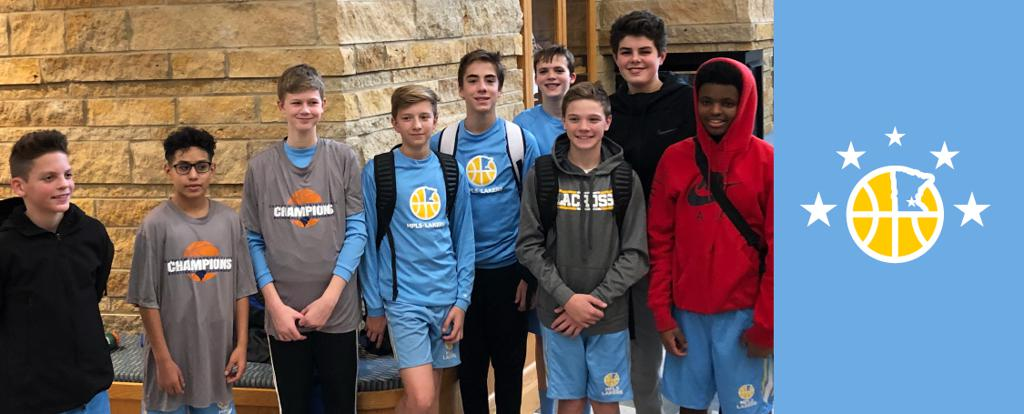 Minneapolis Lakers Boys 8th Grade Gold pose with their T-Shirts after becoming the Champions at the Eastview Boys Classic tournament in Apple Valley, MN