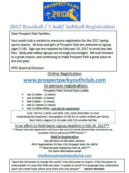Information on 2017 Spring / Summer sports registration