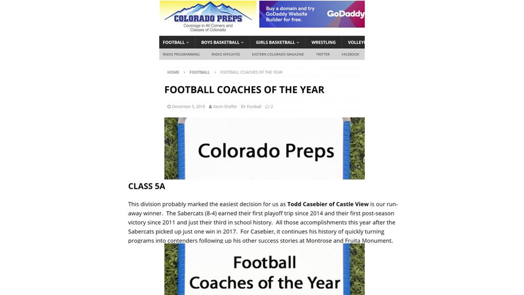 Colorado Preps Coach Year 2018