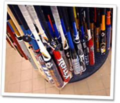 Picture of Baseball Bats on a Rack