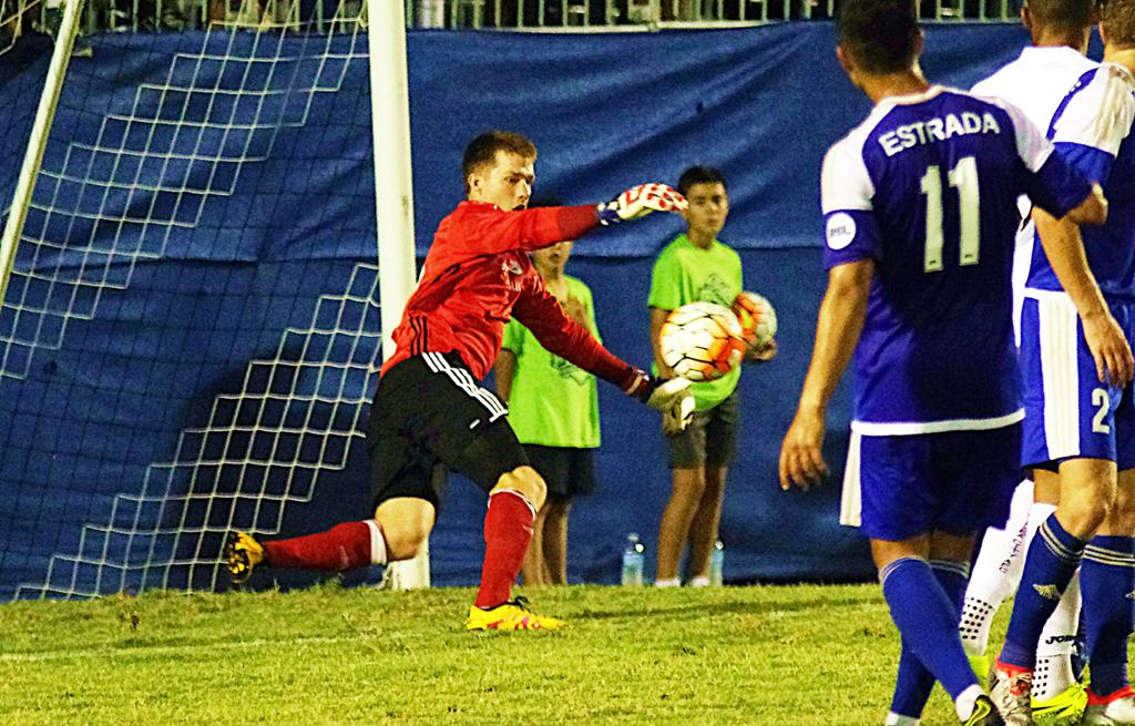 Kyle Renfro takes a goal kick during the Charlotte Independence's exhibition match with Swansea City AFC of the Premier League during the summer of 2017.