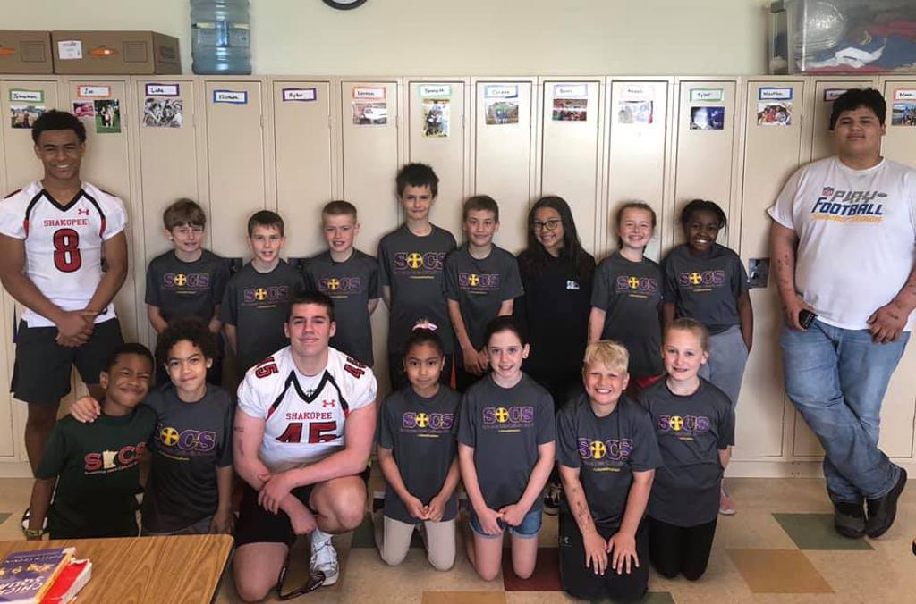 Shakopee Varsity Footballers visiting elementary schools to encourage playing youth football