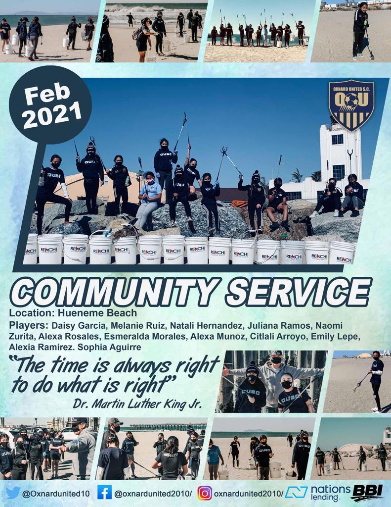 February 2021 Oxnard United G2010 Community Service