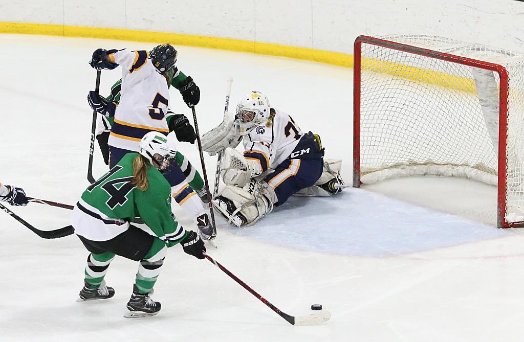 Haylee Blinkhorn (14) picks up the deflection and scores on an open net. Blinkhorn scored twice in the Pioneers' 5-1 win over the Zephyrs on Friday night. Photo by Cheryl Myers, SportsEngine