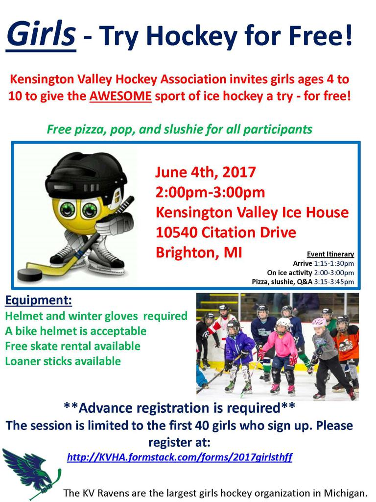 GIRLS TRY HOCKEY FOR FREE - Sunday, June 4th, 2017 at 2:00PM