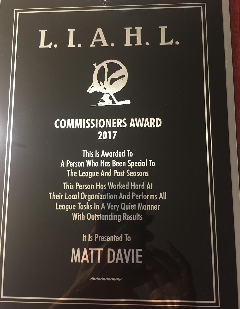 Matt Davie - Commissioner of the year Award