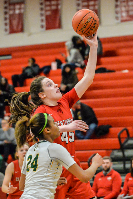 The Cougars' Jenna Guyer (45) had a game-high 28 points as the Cougars beat the Pirates 73-71 at home Tuesday night. Photo by Earl J. Ebensteiner, SportsEngine