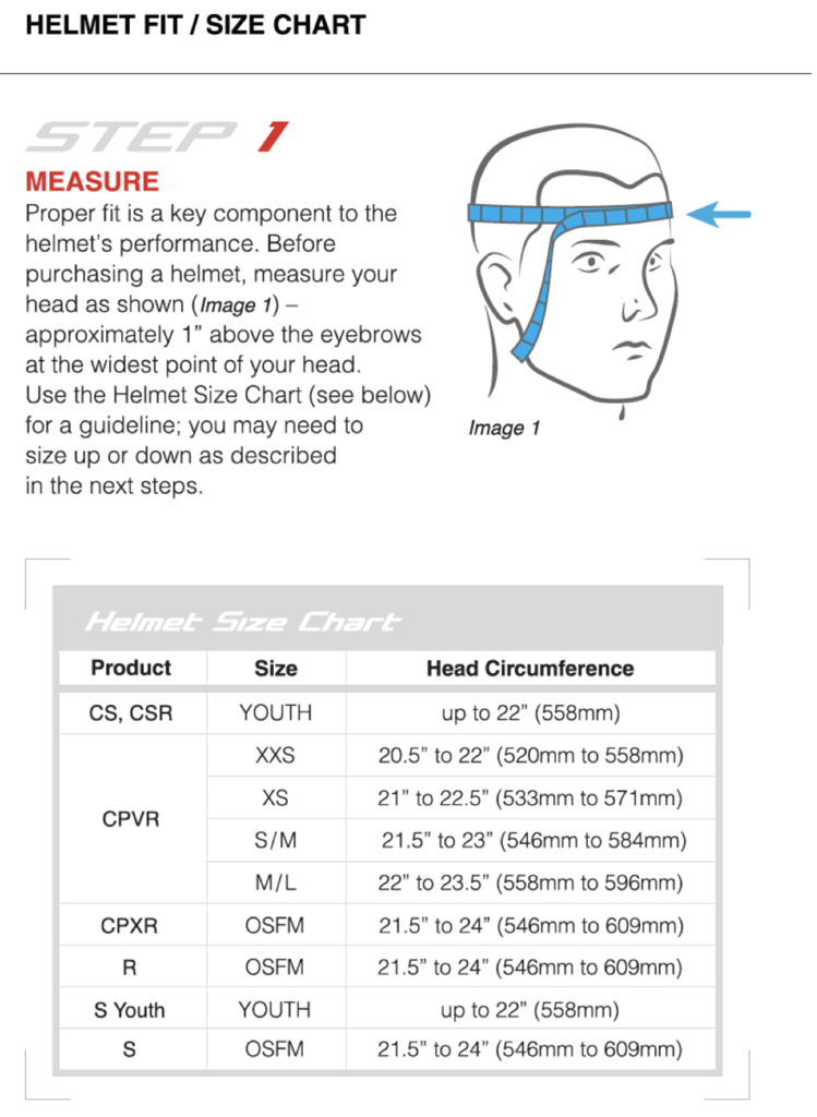 Boys Helmet Sizing Guide