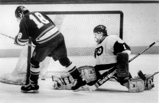 Mark Strobel scores the winning goal in overtime of a 1991 section semifinal. Credit: Courtesy Hill-Murray School.