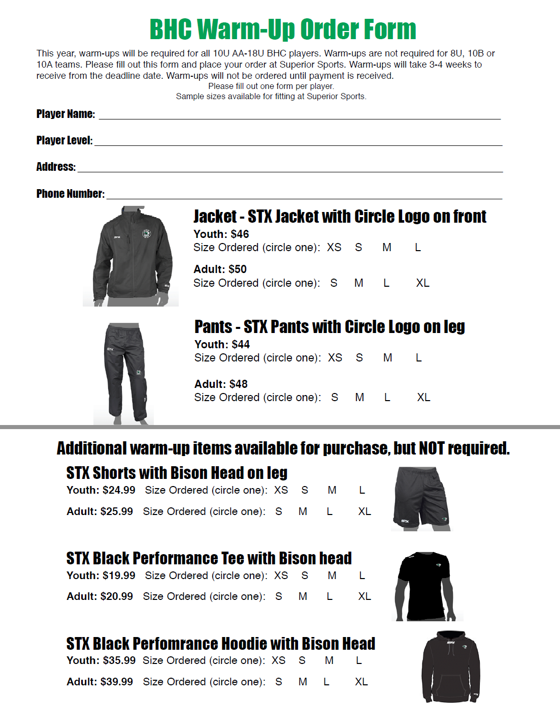 BHC Warm-Up Order Form