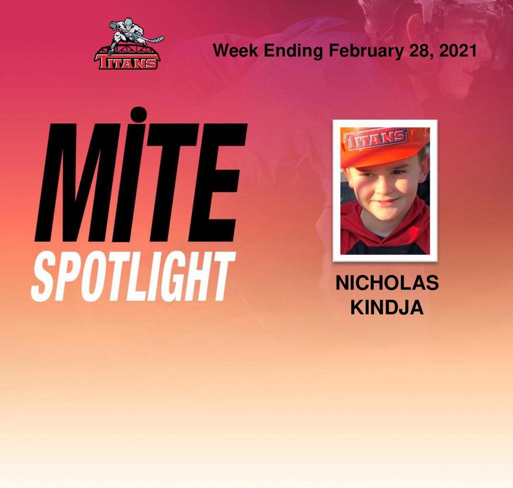 Titans announce Nicholas Kindja as Mite Spotlight for week ending February 28