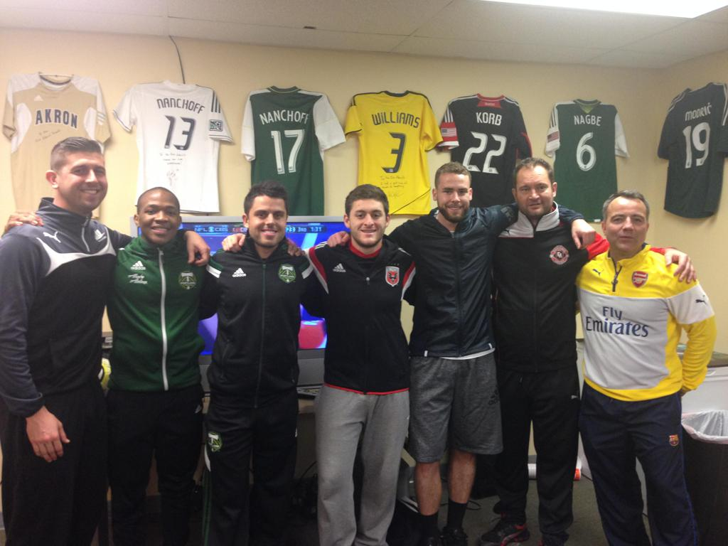 Admirals Coaching Staff with some of the MLS Top Players