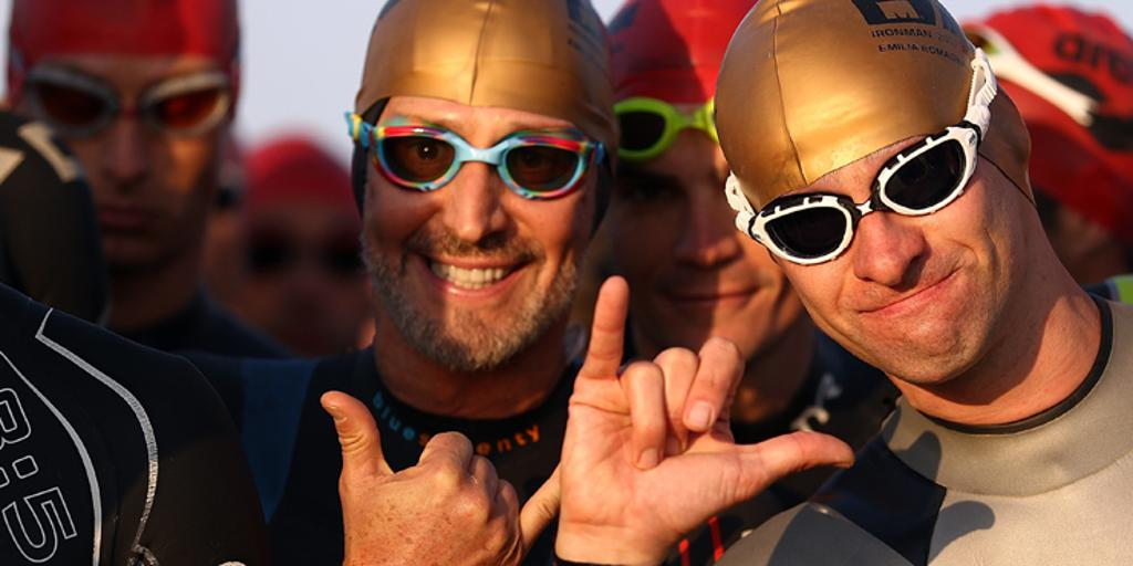 Triathletes with swim goggles on