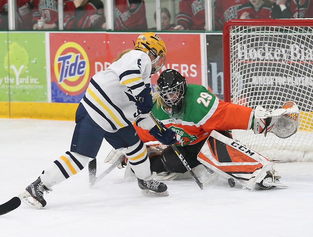 Emily Trast (29) stretches for the save late in the third period. Trast and the Lightning held the Mustangs scoreless through two periods in a 5-2 loss on Wednesday night. Photo by Cheryl Myers, SportsEngine
