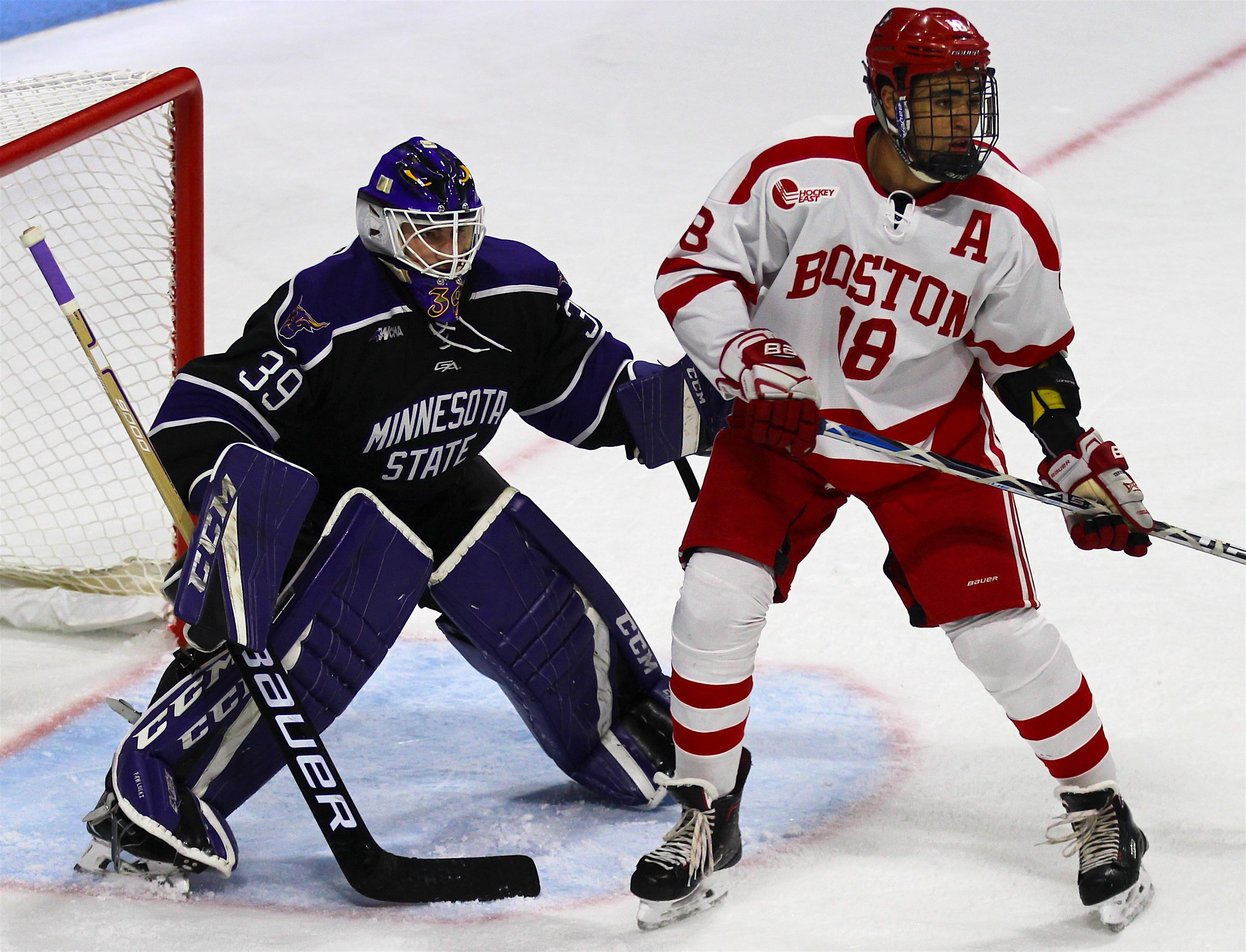 Jordan Greenway with Boston University (photo courtesy of Matt Dresens)
