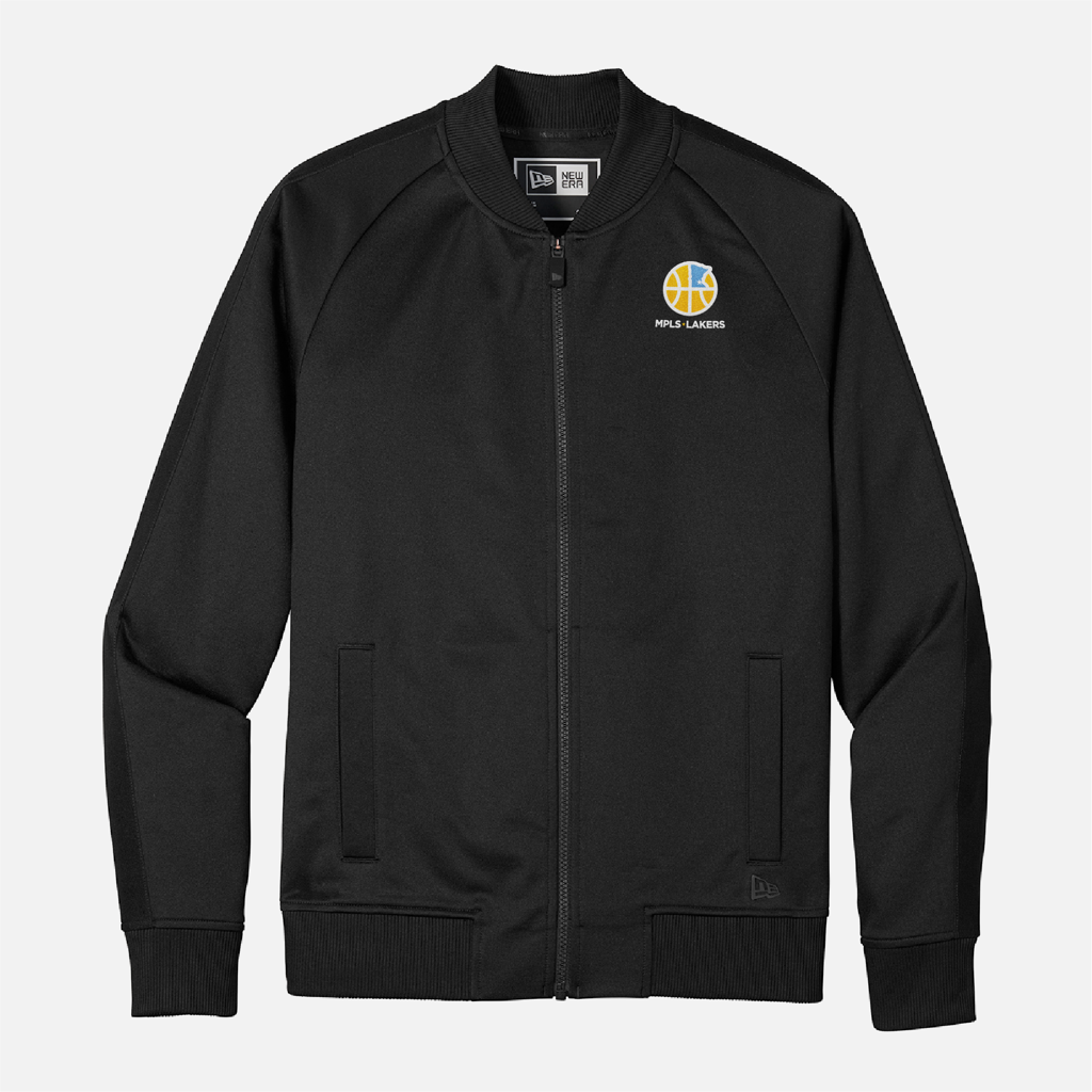 Official Mpls Lakers Youth Traveling Basketball Program Inc apparel and gear in Minneapolis, MN: Men's Black New Era Track Jacket with embroidered logo and text