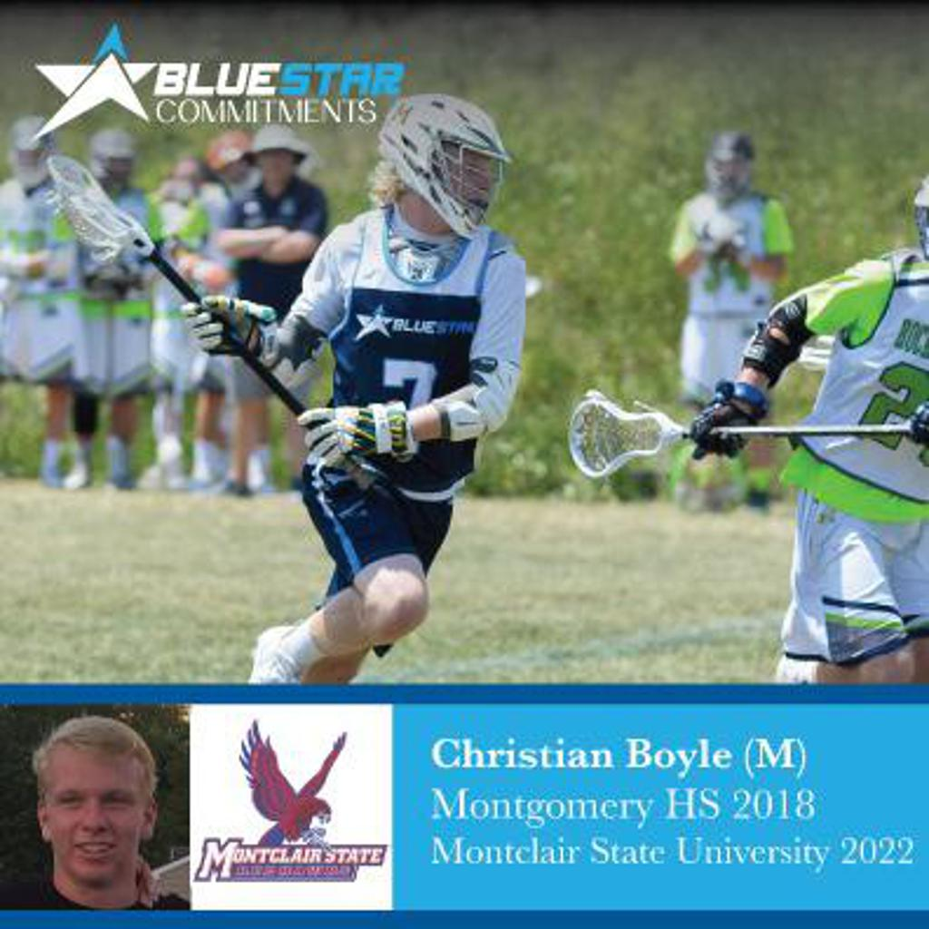 Blue Star Lacrosse Christian Boyle Commits to Montclair St