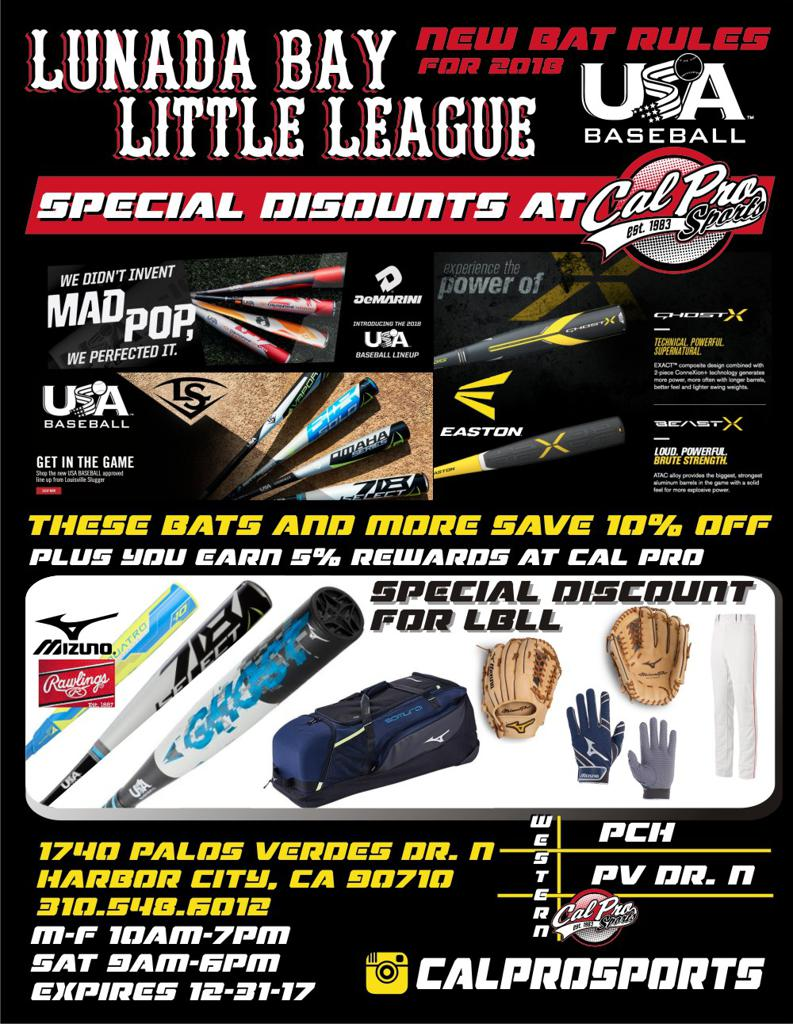 CalPro Sports Bat Discount Flyer