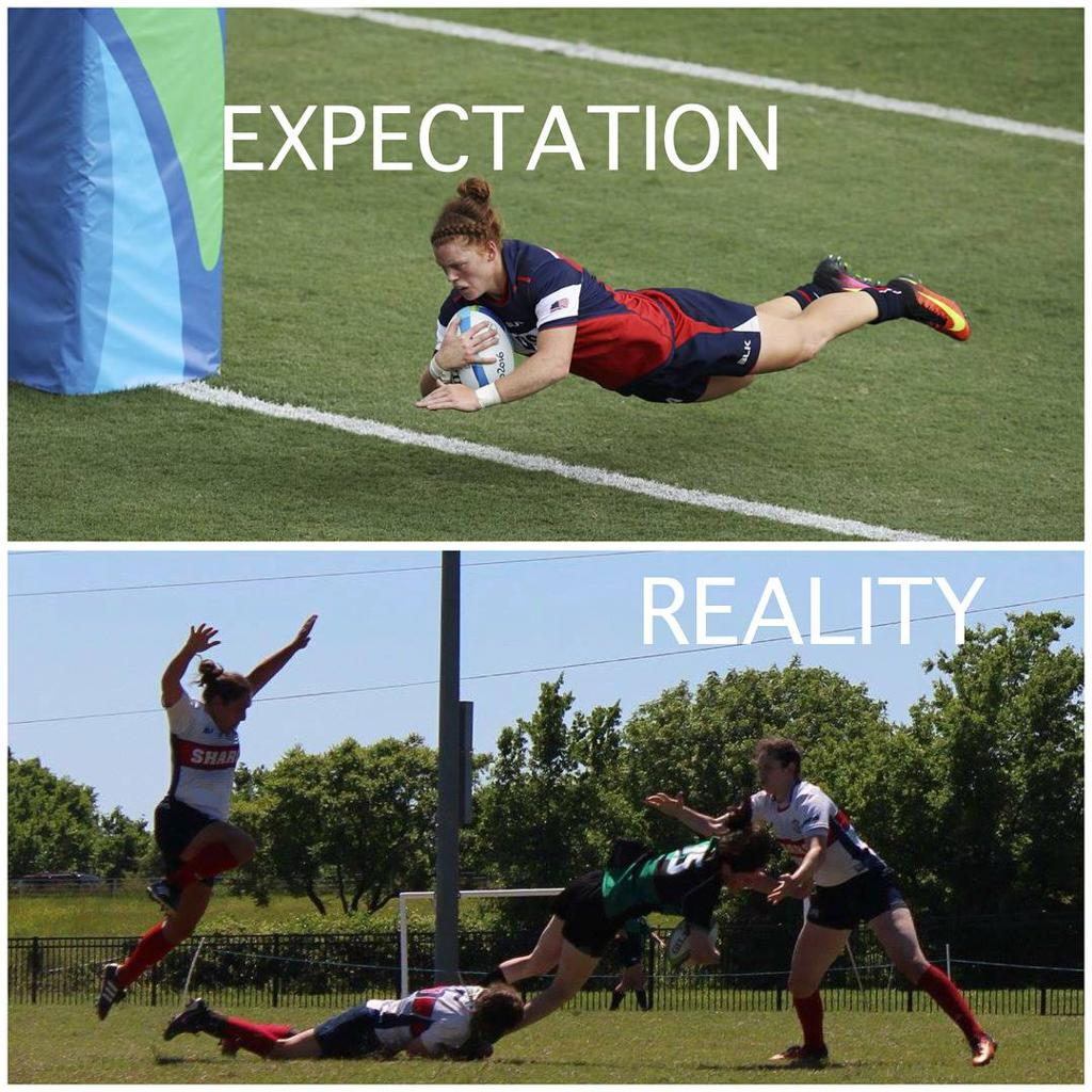 Lady Quins Scoring a Try Expectation vs. Reality