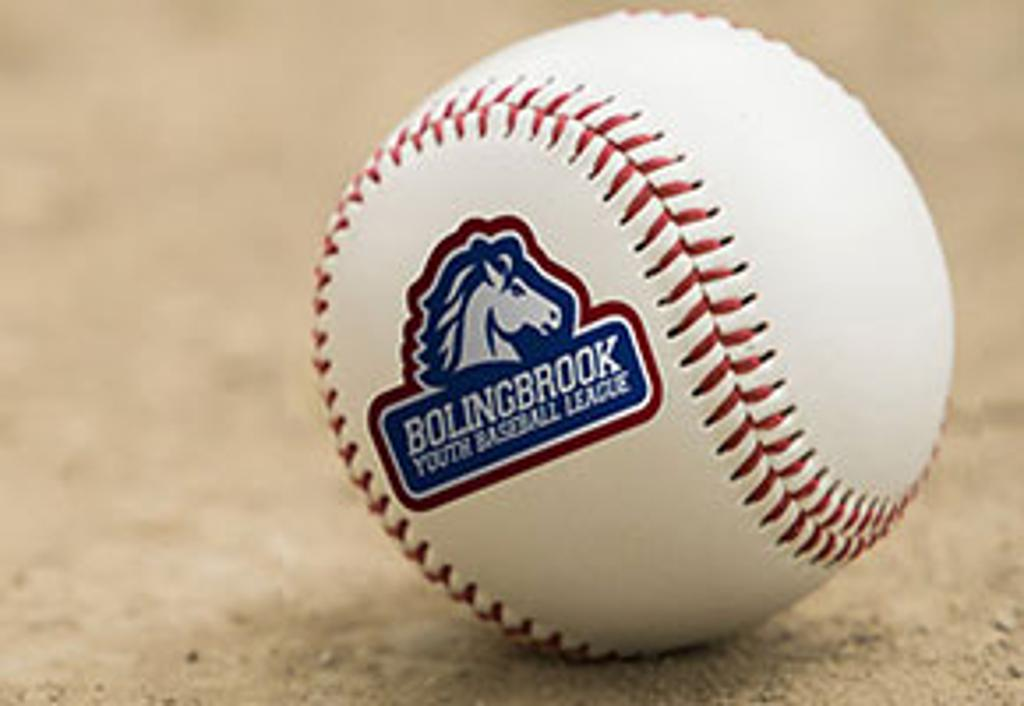 A Baseball with the Bolingbrook Youth Baseball League logo on it