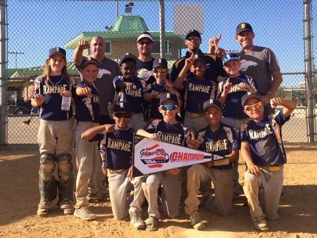 Rampage10U team after a tournament win