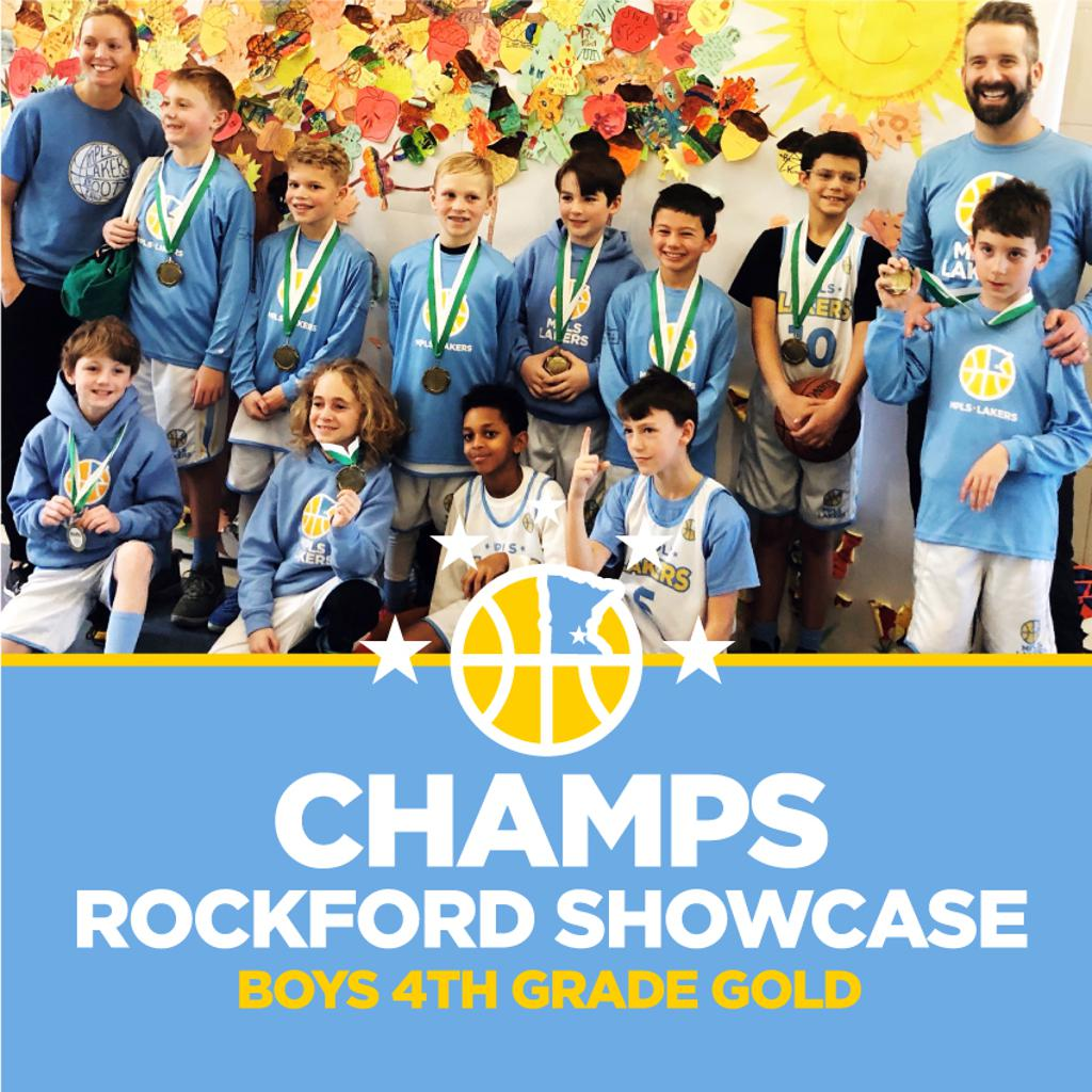 Boys 4th Grade Gold pose with their hardware after taking 1st at Rockford Showcase