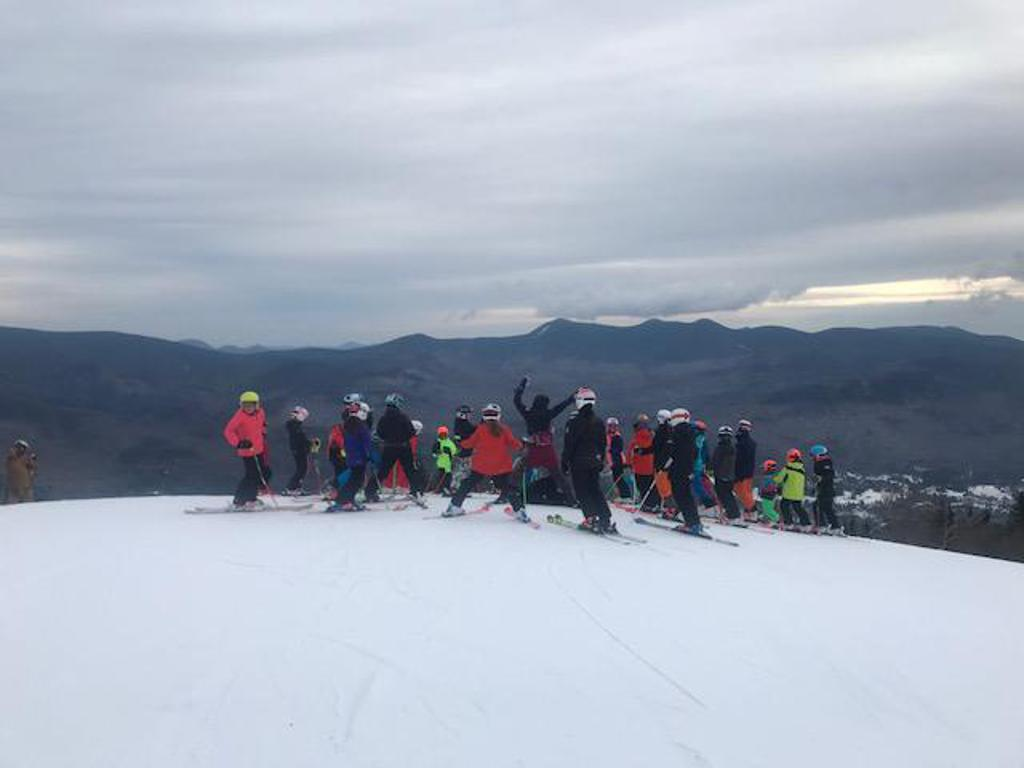 U12's getting ready for the race looks like a great day to ski!!