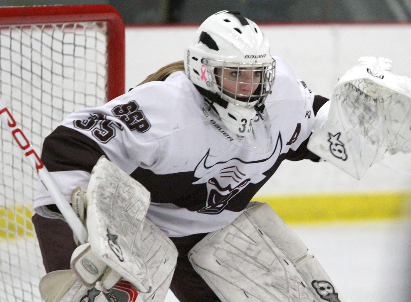 South St. Paul senior goaltender Kaity McKenzie stopped all 24 shots she faced to earn a shutout in the Packers' 2-0 win over Proctor/Hermantown Friday night at Doug Woog Arena. Photo by Drew Herron, SportsEngine