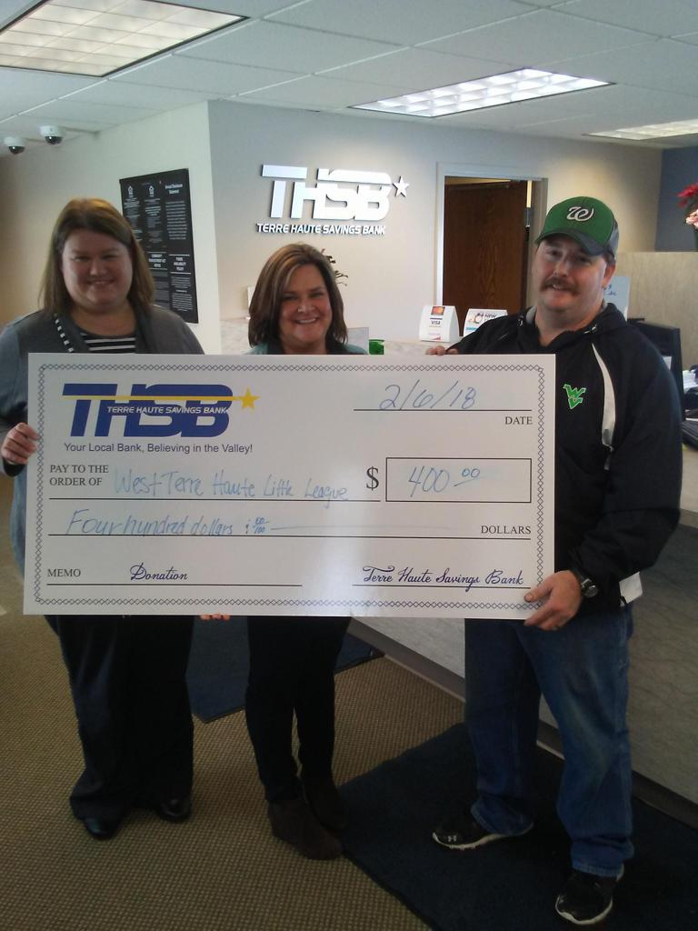 Terre Haute Savings Bank Donating To The West Terre Haute Little League