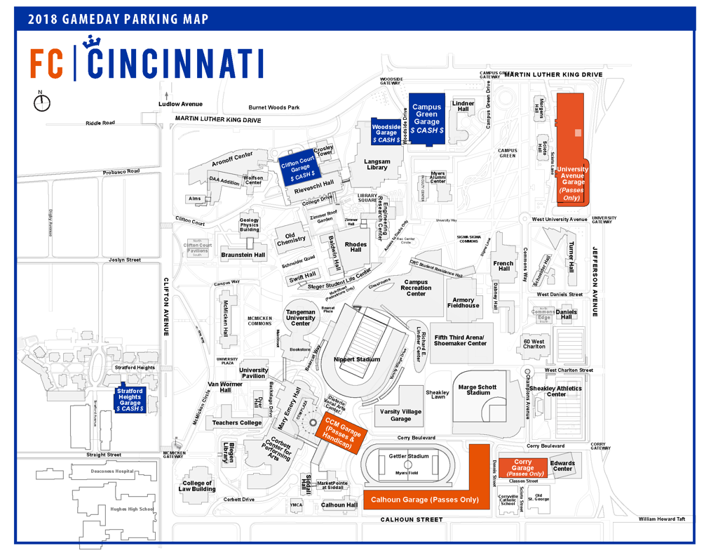 2018 FC Cincinnati Parking Map