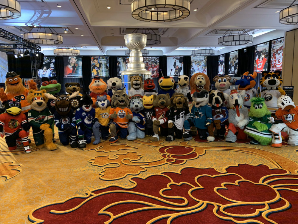 The league's mascots assembled for the 2020 NHL Mascot Showdown, which was part of the all-star game's festivities held in St. Louis, Missouri, in January. Photo courtesy of the NHL