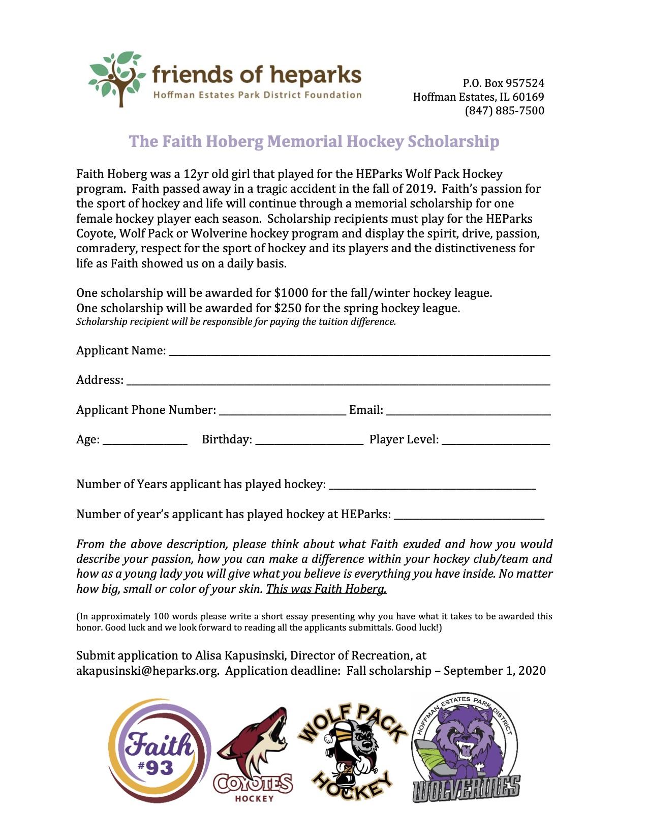 The Faith Hoberg Memorial Hockey Scholarship form