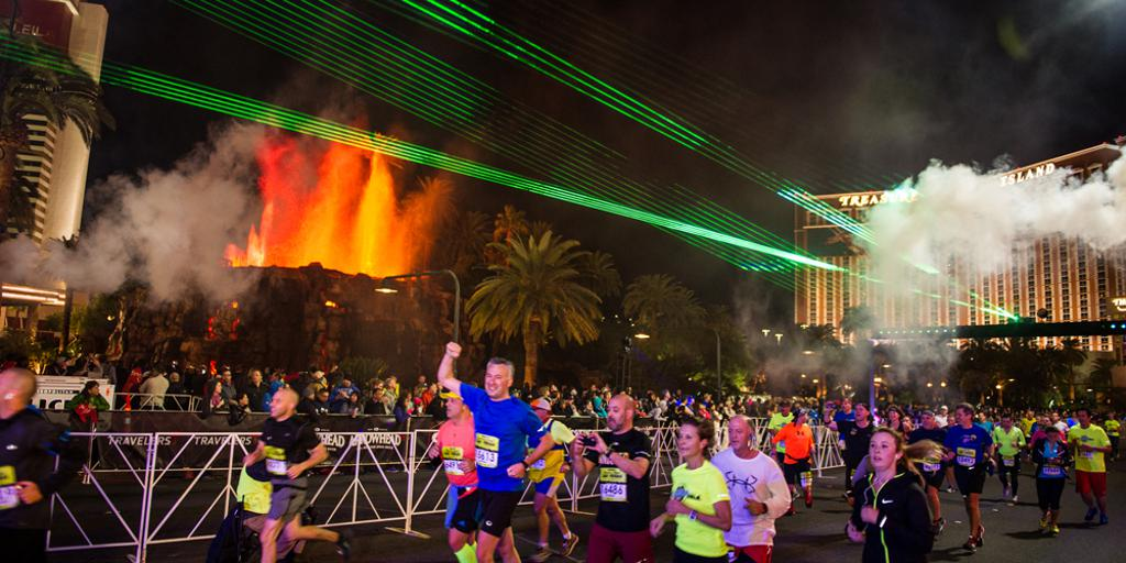 Finish line las vegas with merge volcano in background