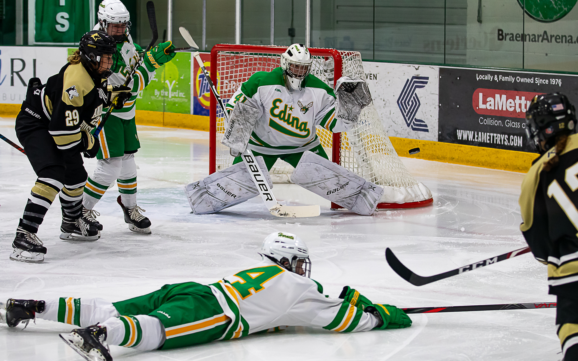 Tough defense by both Andover and Edina created early season excitement as the Huskies earned a 1-0 victory over the Hornets at Braemar Thursday night. Photo by Gary Mukai SportsEngine