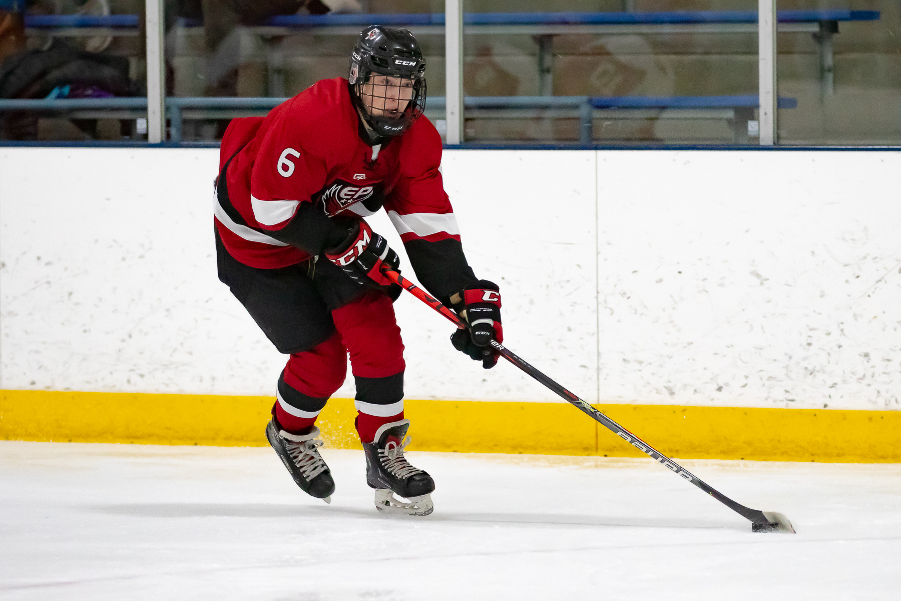 Eden Prairie senior forward Ben Steeves notched a hat trick to lead the Eagles in a 6-2 win over Benilde-St. Margaret's on Tuesday night in St. Louis Park. Photo by Gary Mukai, SportsEngine