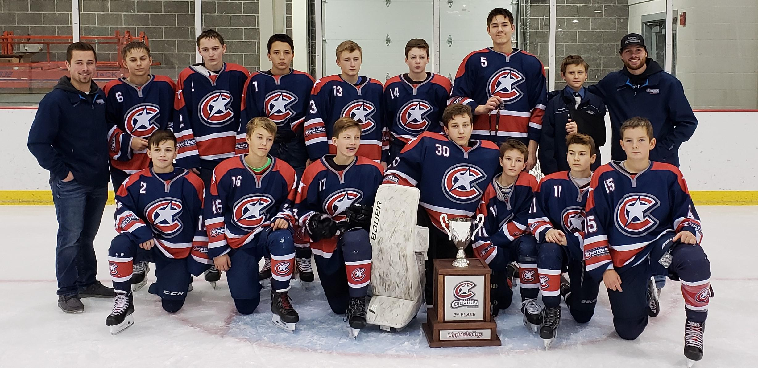 The Bismarck Capitals Bantam B1 team took 2nd place at the Capitals Cup Tournament.  Congratulations!!